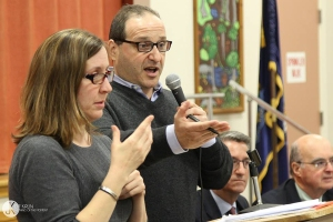 City Councilor Joe Baldacci speaking, at a town hall he hosted, about his proposal to raise the minimum wage for Bangor. Photo by Jeff Kirlin