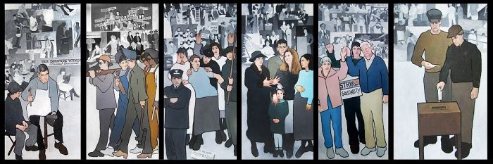 Panels from Maine artist Judy Taylor's Labor Mural, that was commissioned by Maine's Department of Labor.
