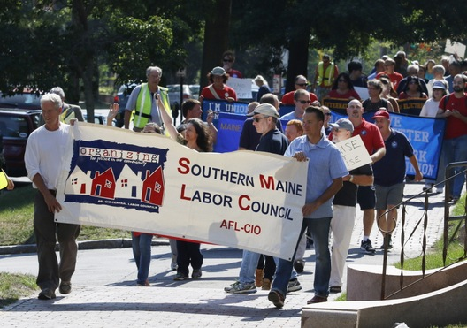 Members of the Southern Maine Labor Council lead a Labor Day march Monday in Portland. Joel Page/PPH Staff Photographer